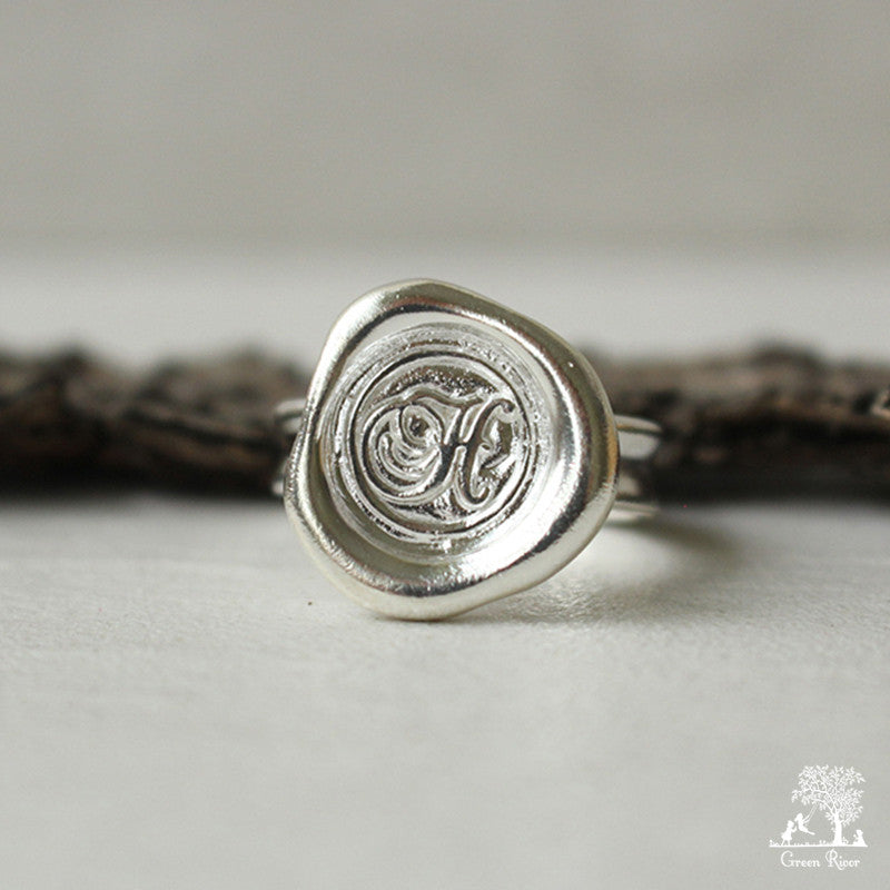 Sterling Silver Wax Seal Ring - Initial Monogram H