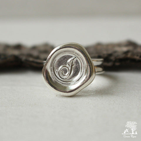 Sterling Silver Wax Seal Ring - Initial Monogram J