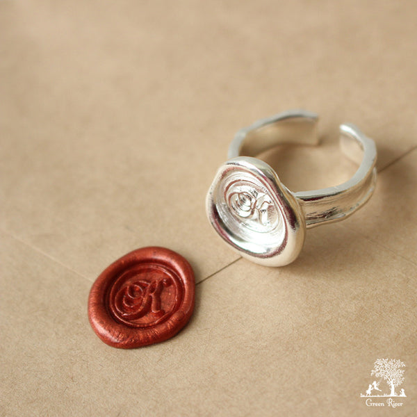 Sterling Silver Wax Seal Ring - Initial Monogram K