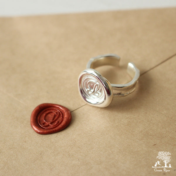 Sterling Silver Wax Seal Ring - Initial Monogram L