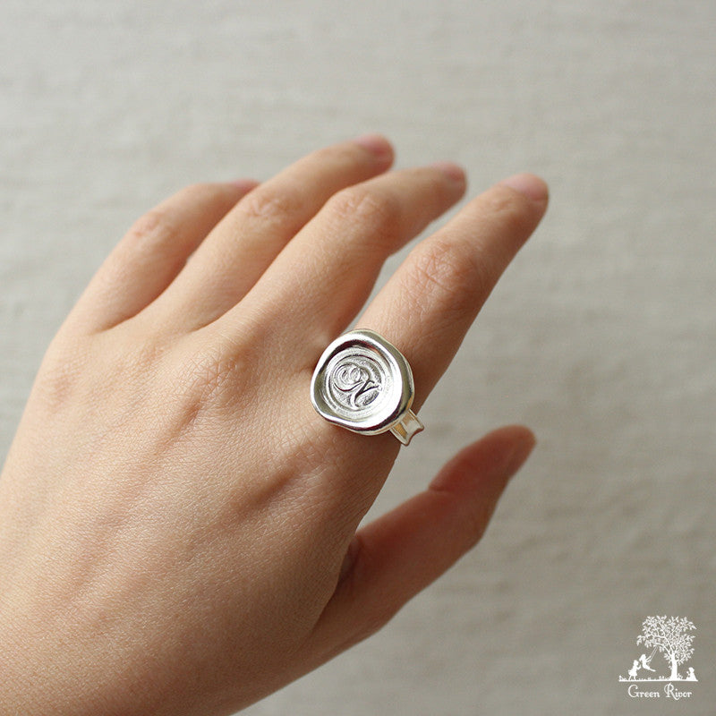Sterling Silver Wax Seal Ring - Initial Monogram N