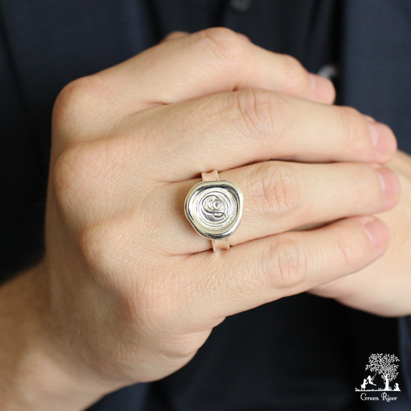 Sterling Silver Wax Seal Ring - Initial Monogram P