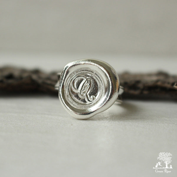 Sterling Silver Wax Seal Ring - Initial Monogram Q
