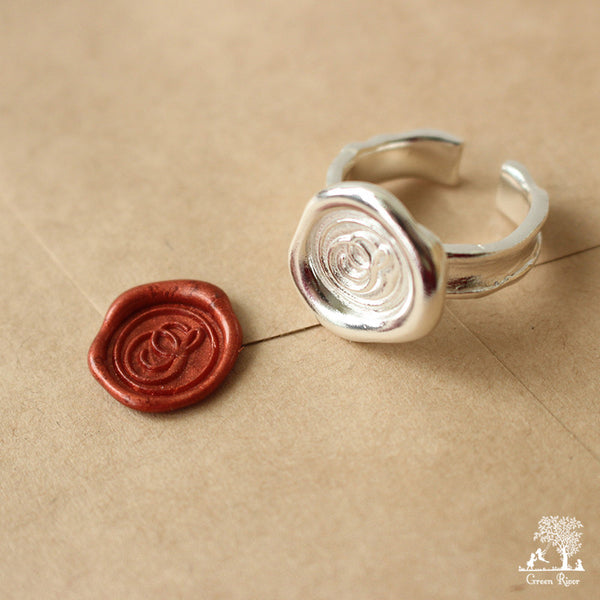 Sterling Silver Wax Seal Ring - Initial Monogram S