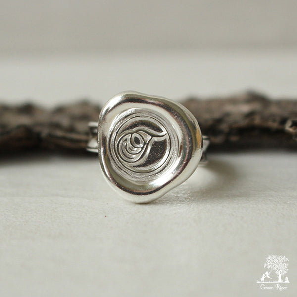 Sterling Silver Wax Seal Ring - Initial Monogram T
