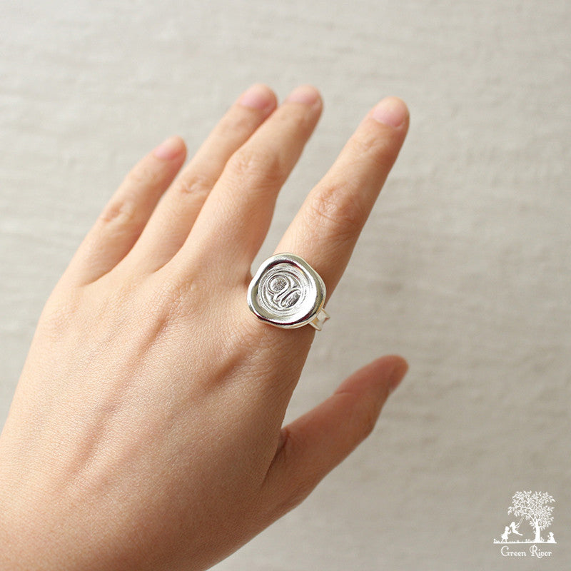 Sterling Silver Wax Seal Ring - Initial Monogram U