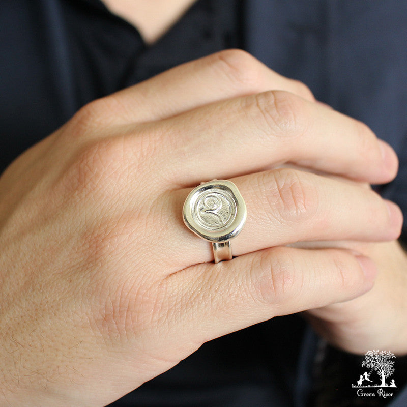 Sterling Silver Wax Seal Ring - Initial Monogram V
