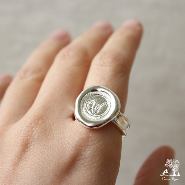 Sterling Silver Wax Seal Ring - Initial Monogram W