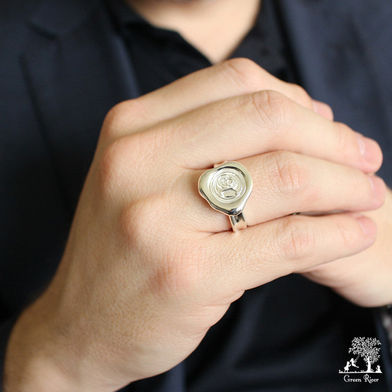Sterling Silver Wax Seal Ring - Initial Monogram X
