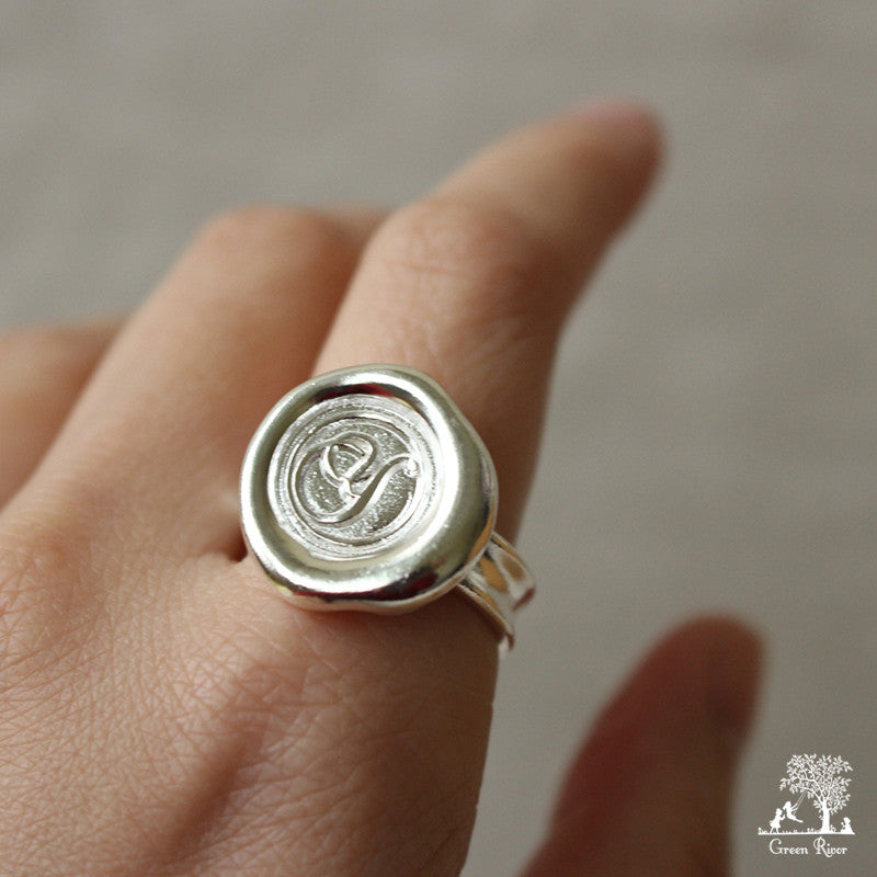 Sterling Silver Wax Seal Ring - Initial Monogram Y