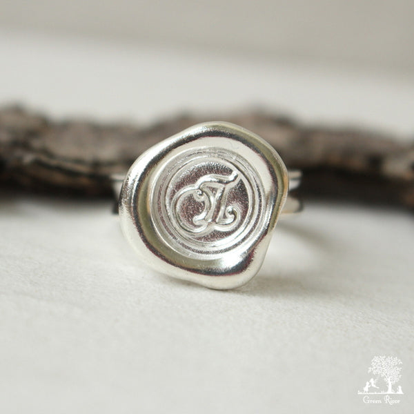 Sterling Silver Wax Seal Ring - Initial Monogram Z