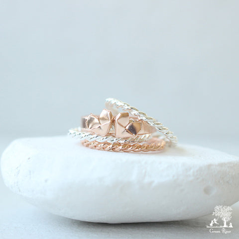 Rose Gold and Silver Origami Heart Stacking Rings