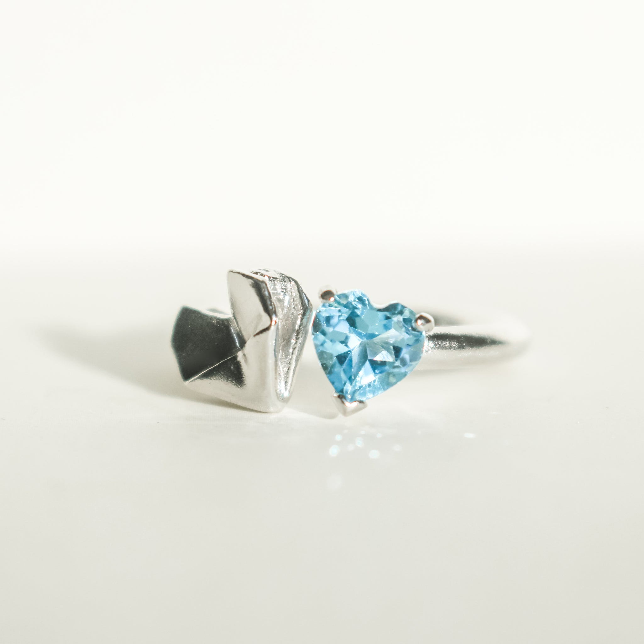 925 Silver Origami Babes Heart and Swiss Blue Topaz Ring