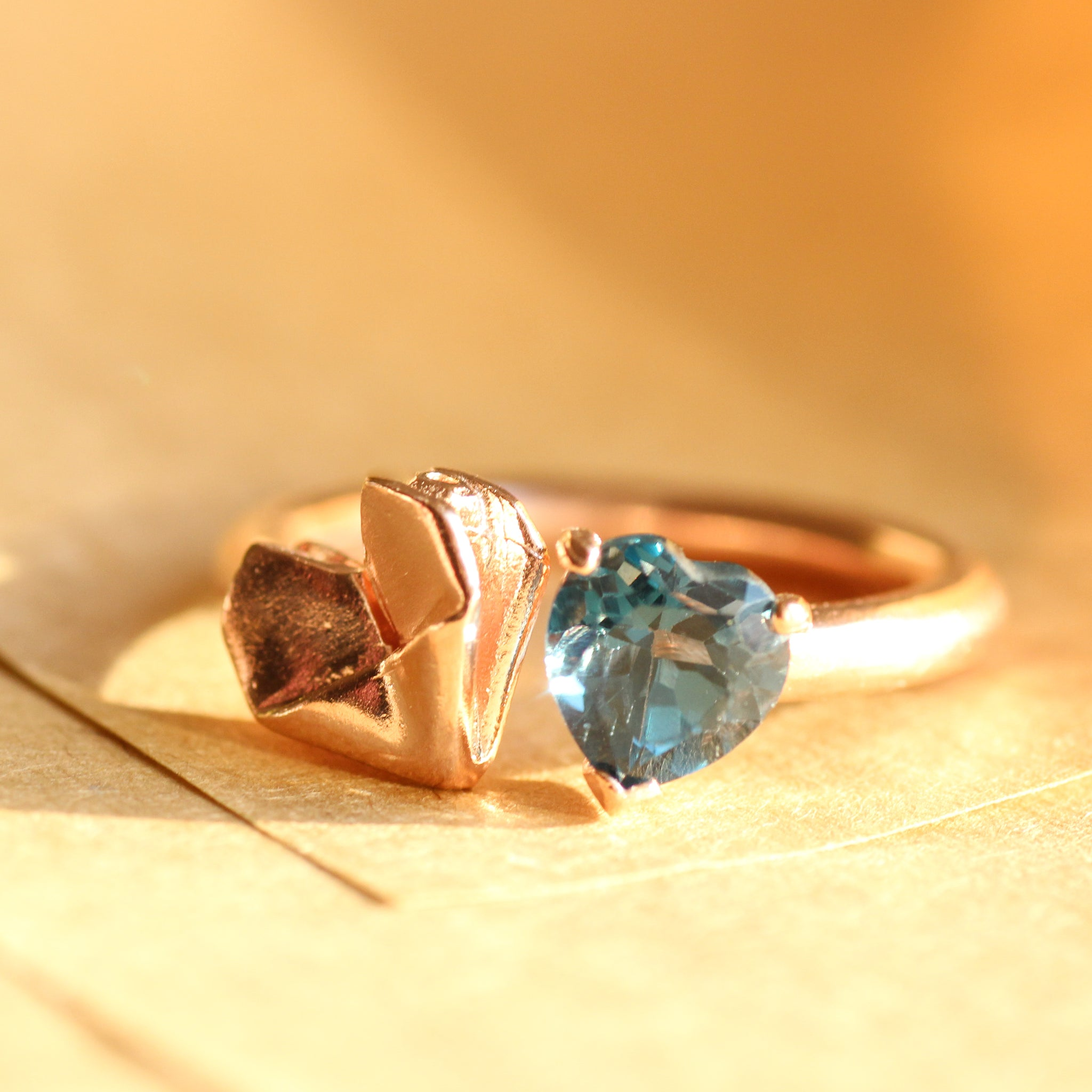 Rose Gold Plated 925 Silver Origami Babes Heart and London Blue Topaz Ring