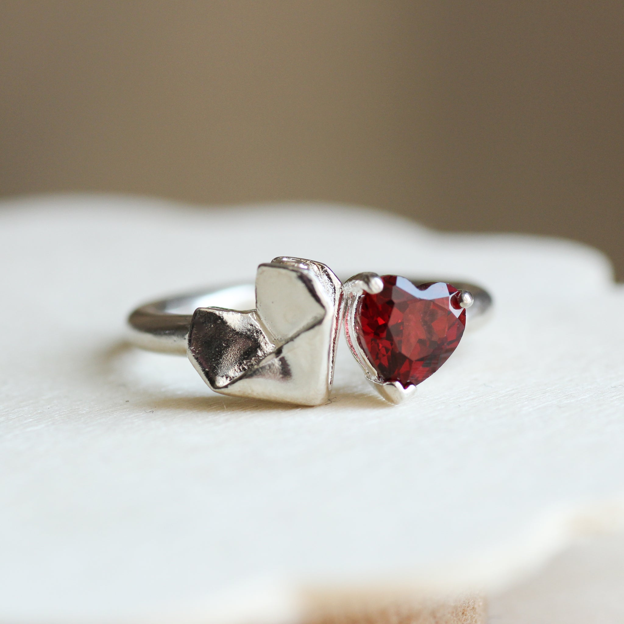 925 Silver Origami Babes Heart and Red Garnet Ring