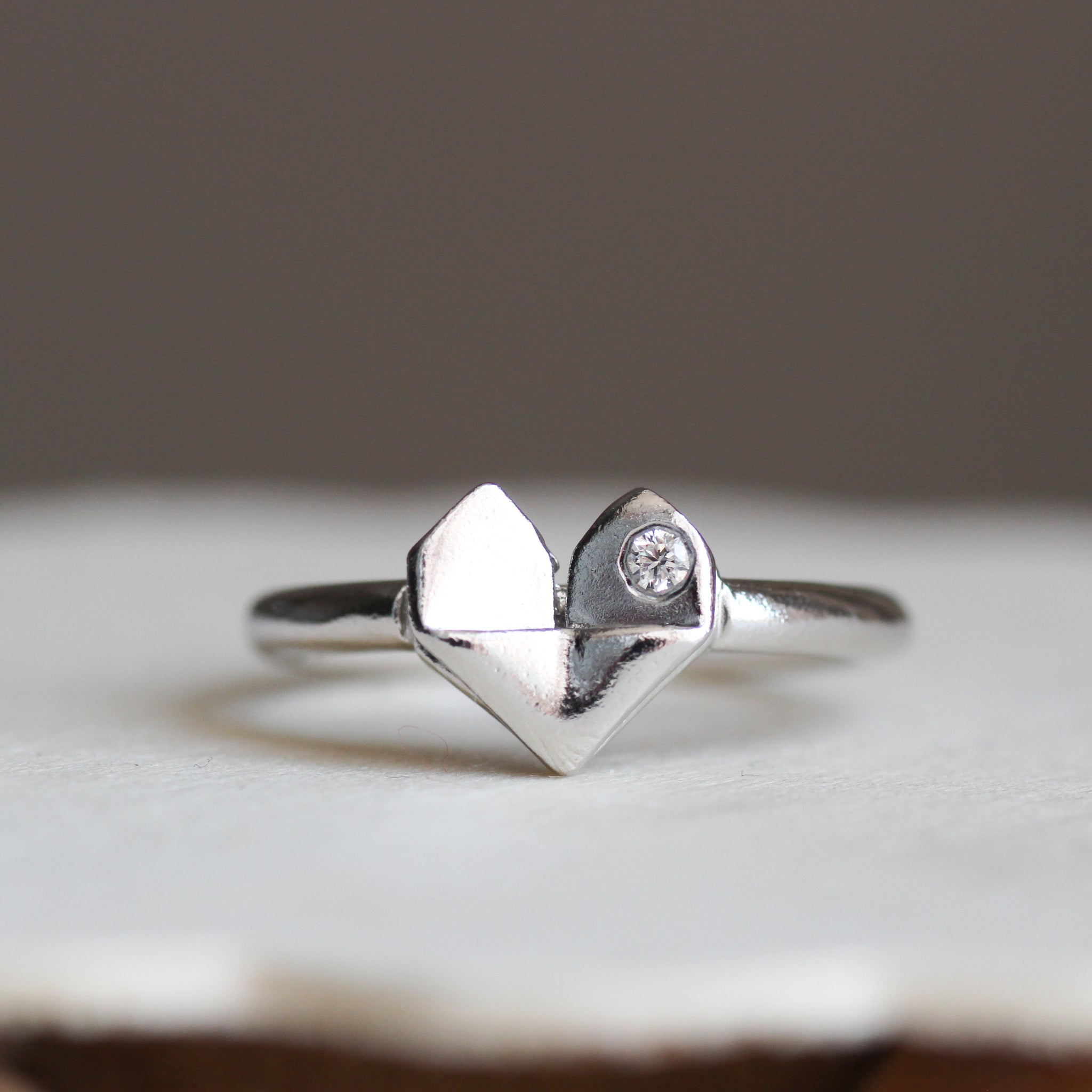 925 Silver Origami Heart Diamond Ring