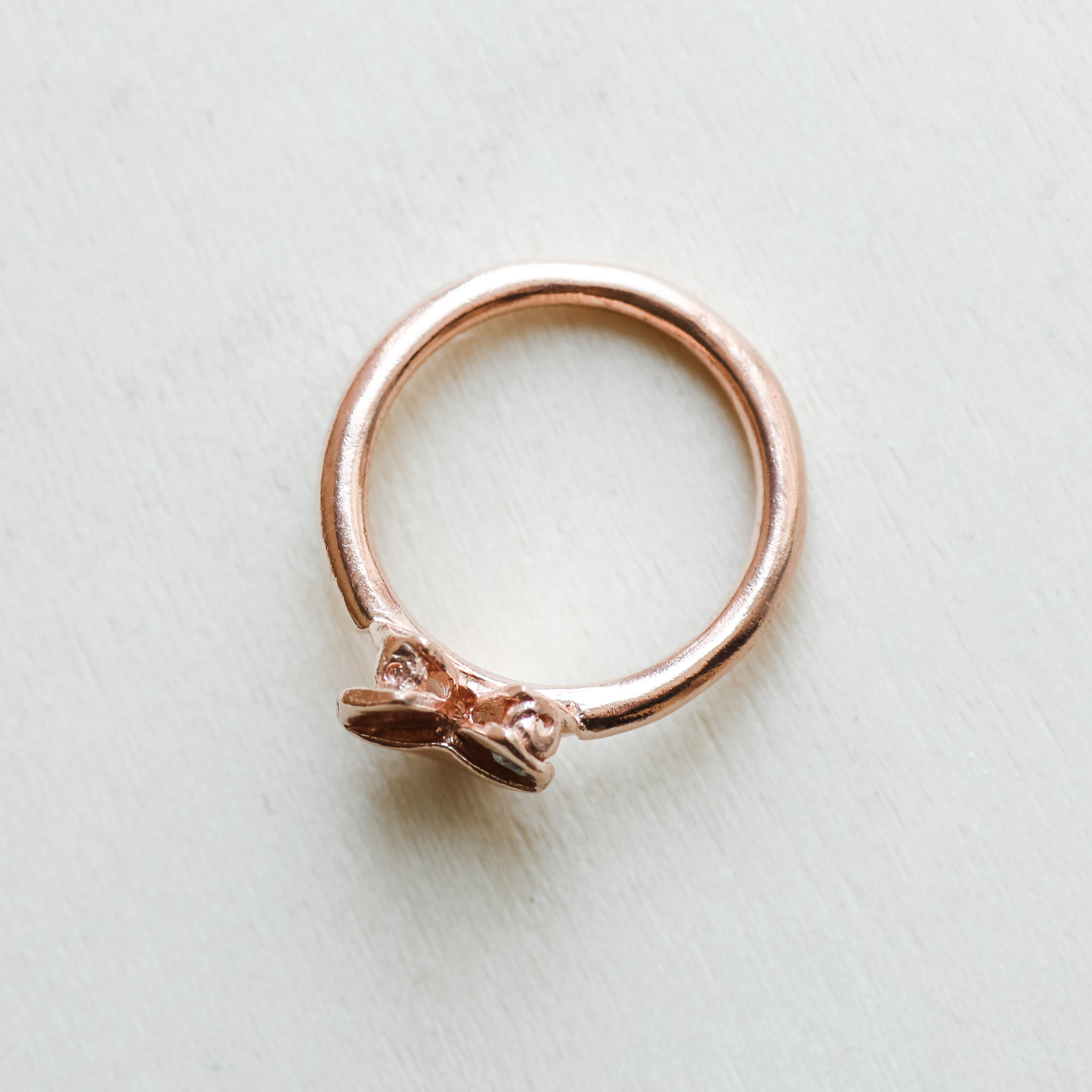 Rose Gold Plated 925 Silver Origami Heart Diamond Ring
