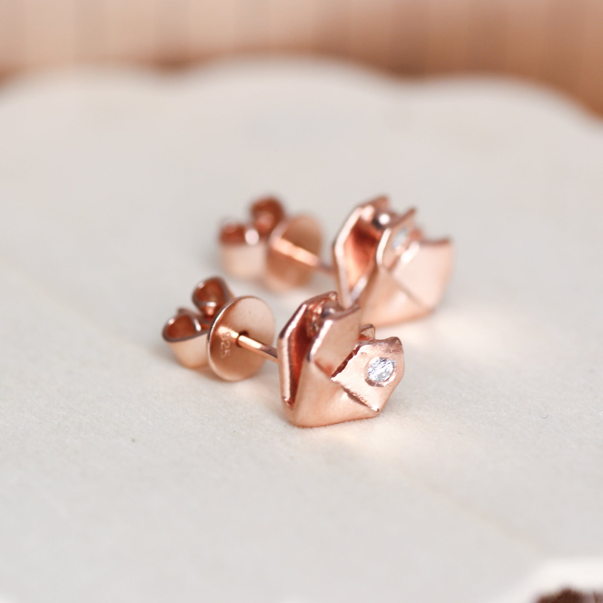Rose Gold Plated 925 Silver Origami Heart Diamond Earrings