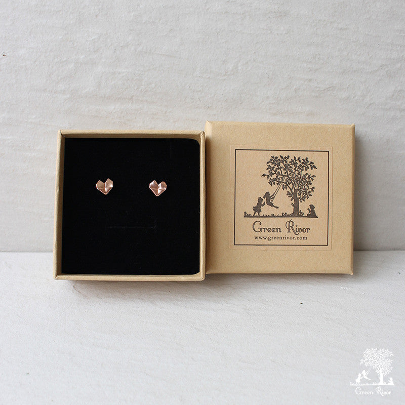 Rose Gold Plated Silver Origami Heart Stud Earrings (Medium Size)