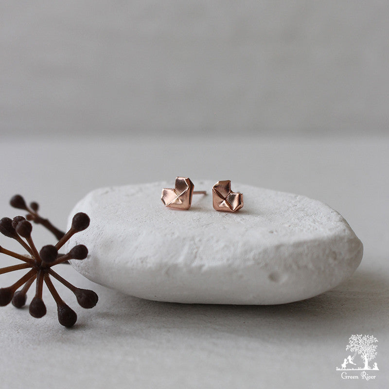 Rose Gold Plated Silver Origami Heart Stud Earrings (Mini)