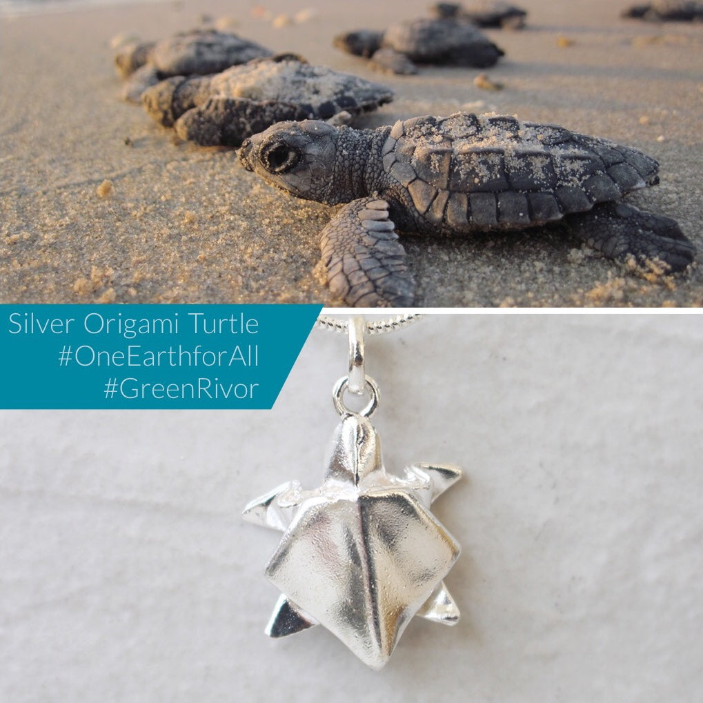 Silver Origami Big Turtle Necklace