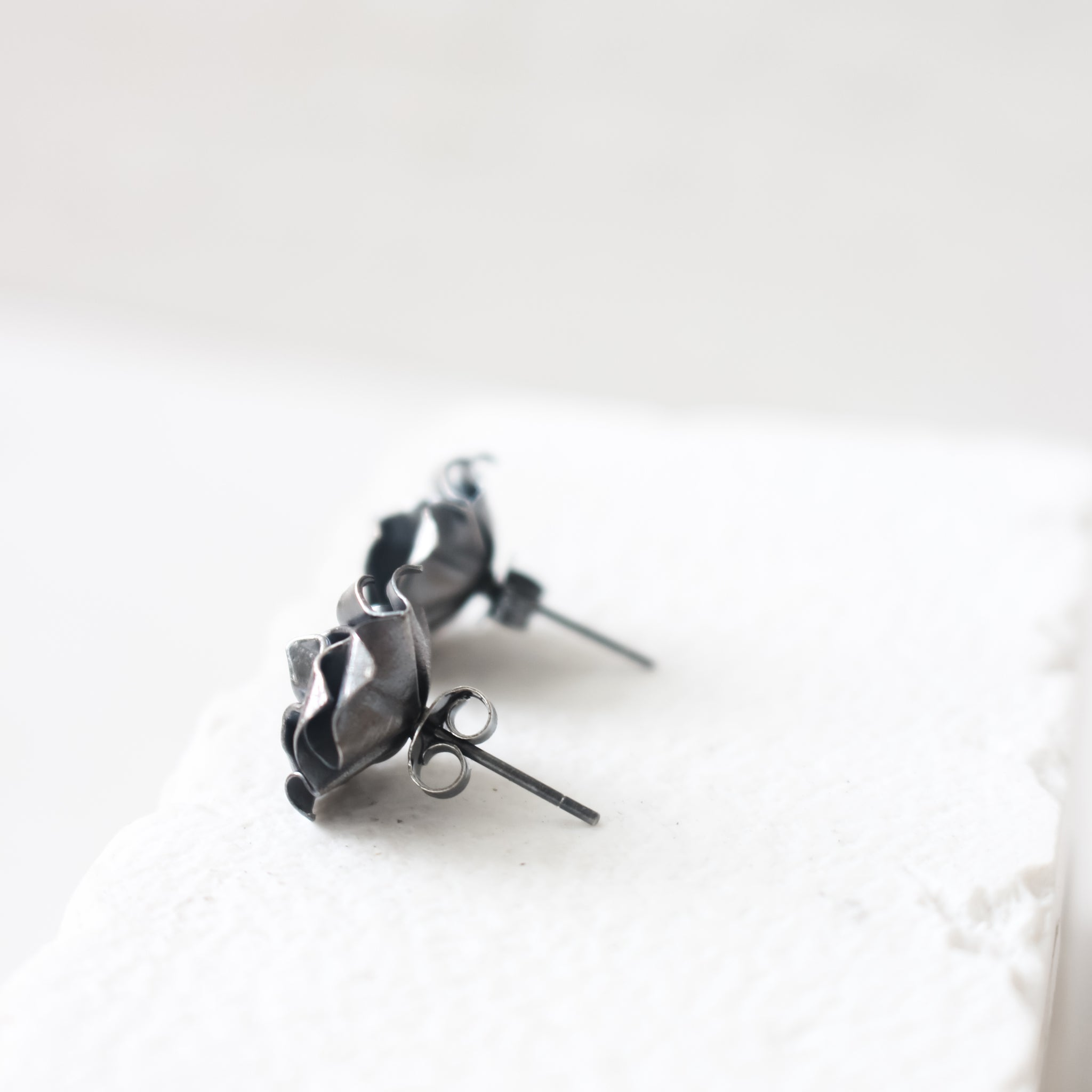 Black Origami Rose Earrings / Paper Rose Stud / Black Rose Earrings