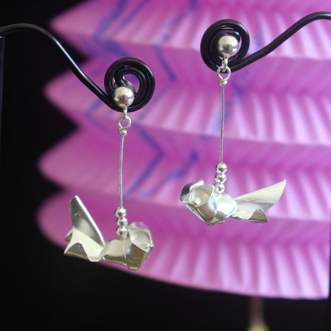 Silver Origami Gold Fish Earrings