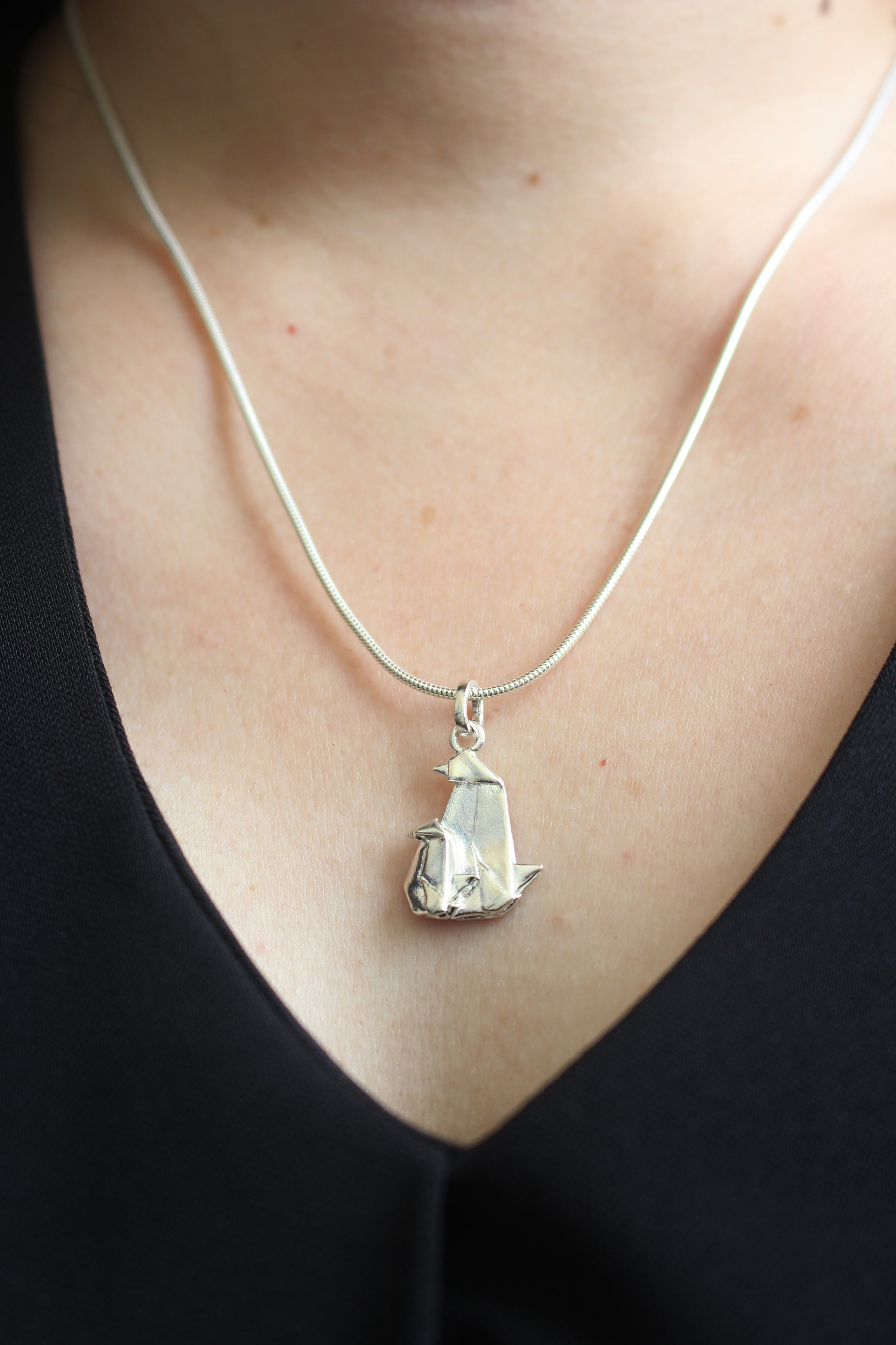 Silver Origami Penguin Necklace