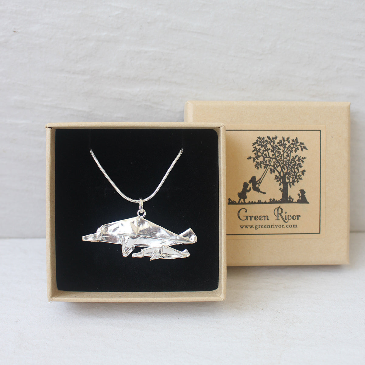 Silver Origami Dolphine Necklace