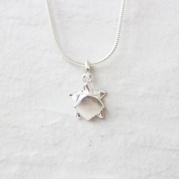 Silver Origami Small Turtle Necklace