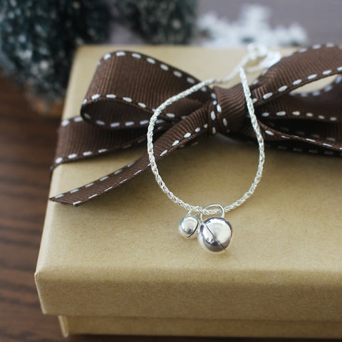 925 Silver Jingle Bell Bracelet (White)
