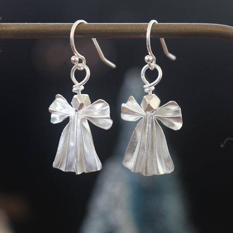 925 Silver Origami Angel Earrings