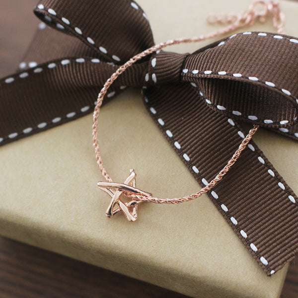 Teeny Tiny Silver Rose Gold Match Star / Stick Star Bracelet in 925 silver