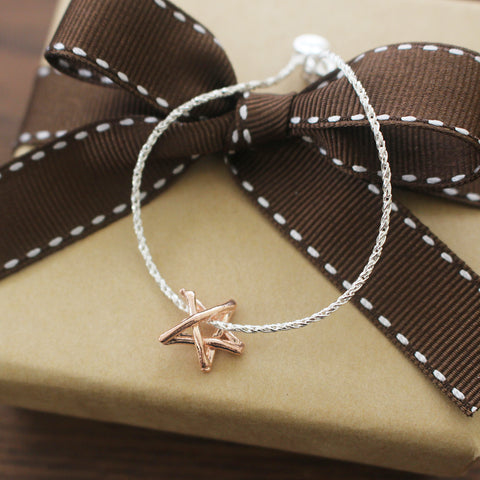 Teeny Tiny Dual Color Silver Match Star / Stick Star Bracelet in 925 silver