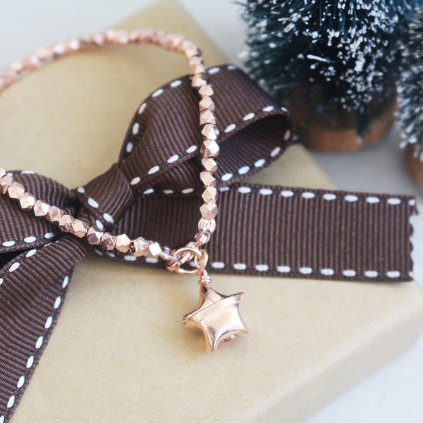 925 Silver Rose Gold Plated Origami Lucky Star Bracelet