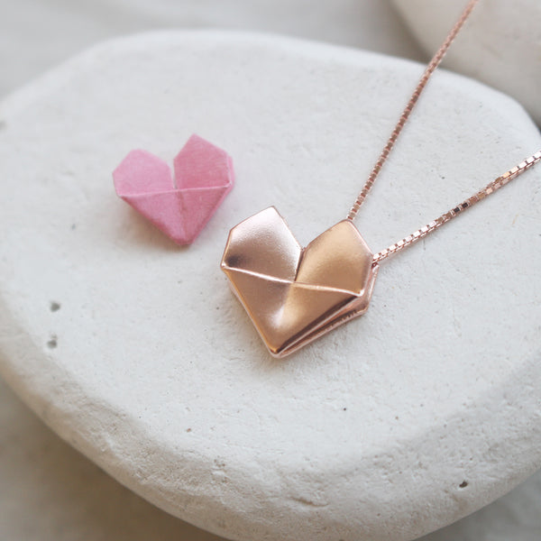 Rose Gold Plated 925 Sterling Silver Origami Heart Necklace