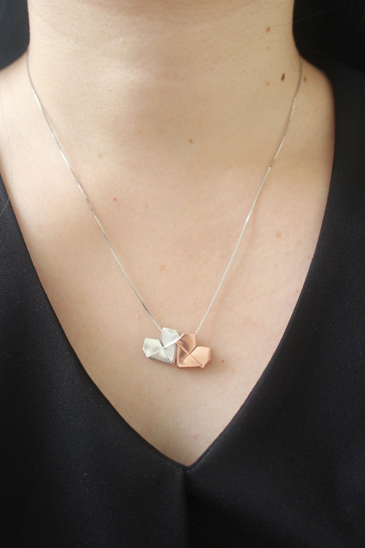 Trio Heart Necklace - Silver Origami Heart Necklace in Three Colors