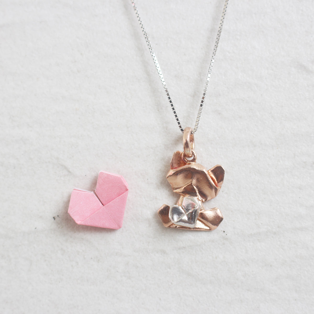 Bear My Love - 925 Silver Origami Bear My Love Necklace (Small/Rose Gold/Gloss)
