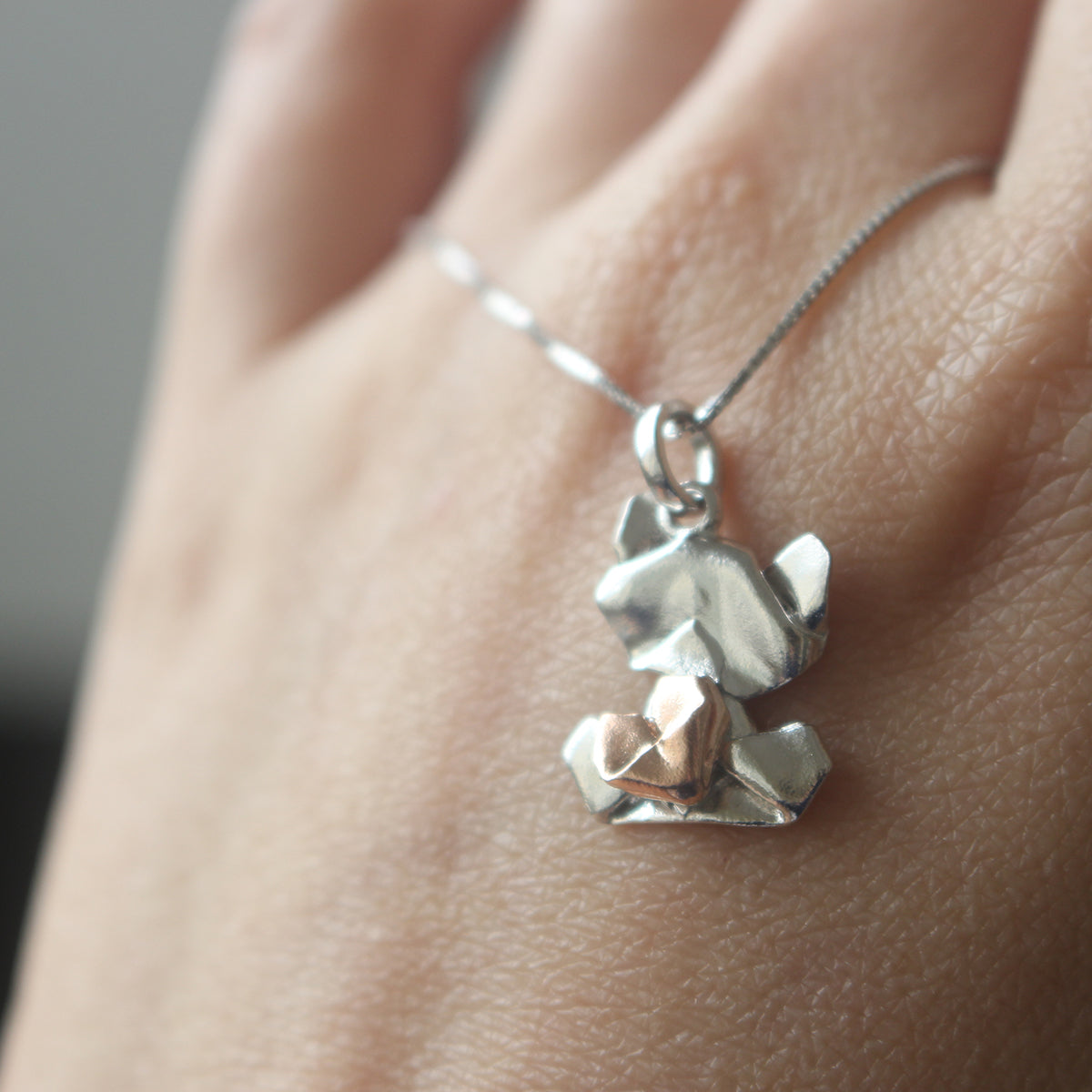 Bear My Love - 925 Silver Origami Bear My Love Necklace (Small/Silver/Gloss)