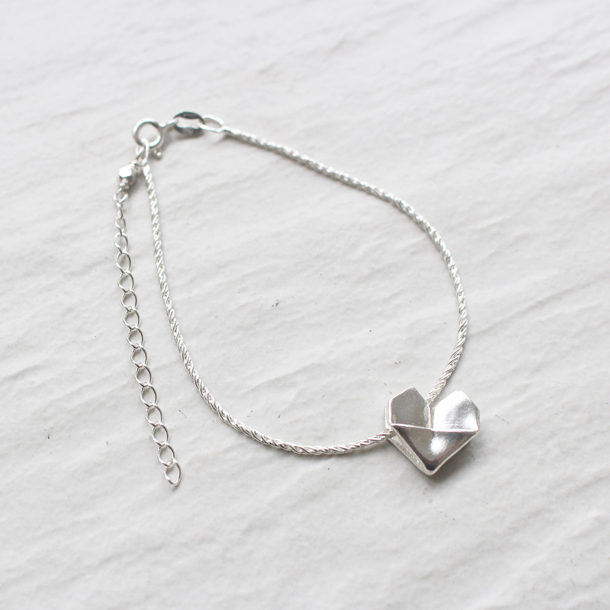 925 Silver Origami Heart Hand Strap (Personalised)