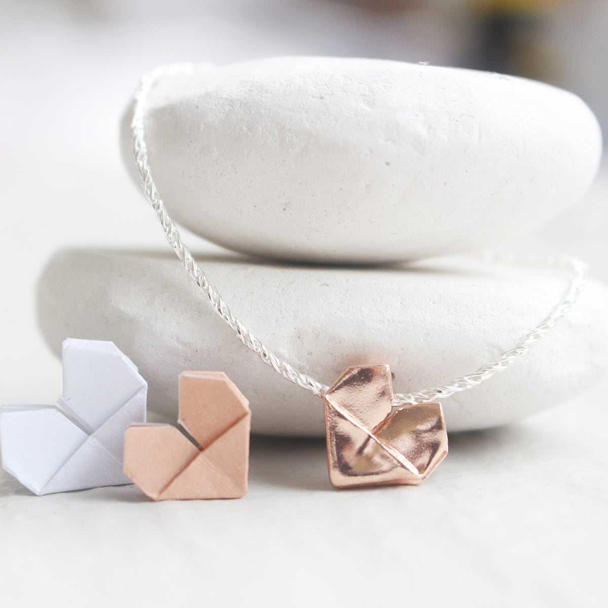 925 Silver Dual Color Origami Heart Hand Strap (Personalised)