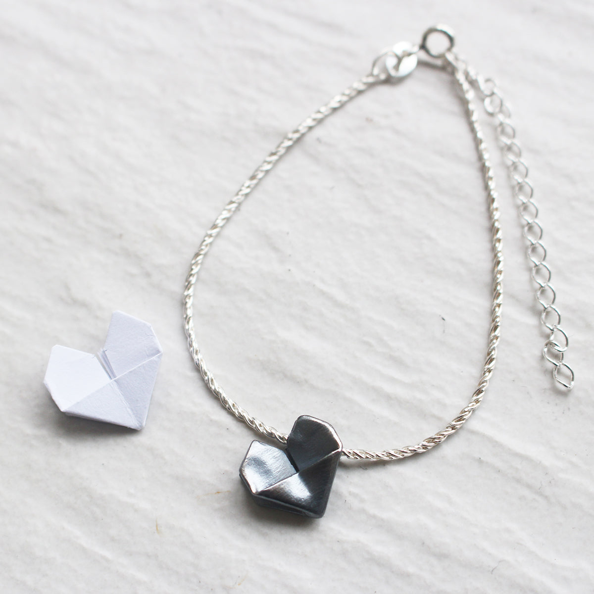925 Black Silver Origami Heart Hand Strap (Personalised)