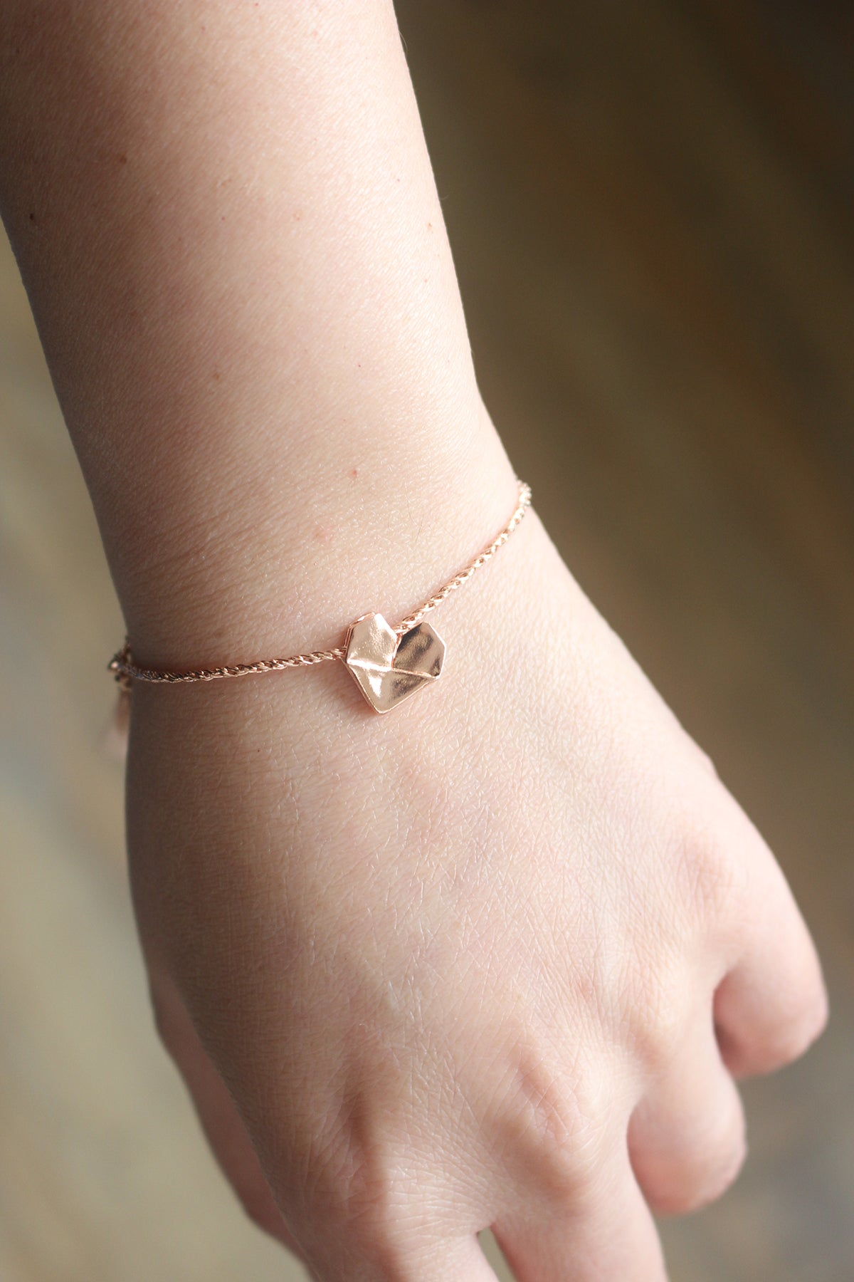 925 Silver Rose Gold Origami Heart Hand Strap (Personalised)