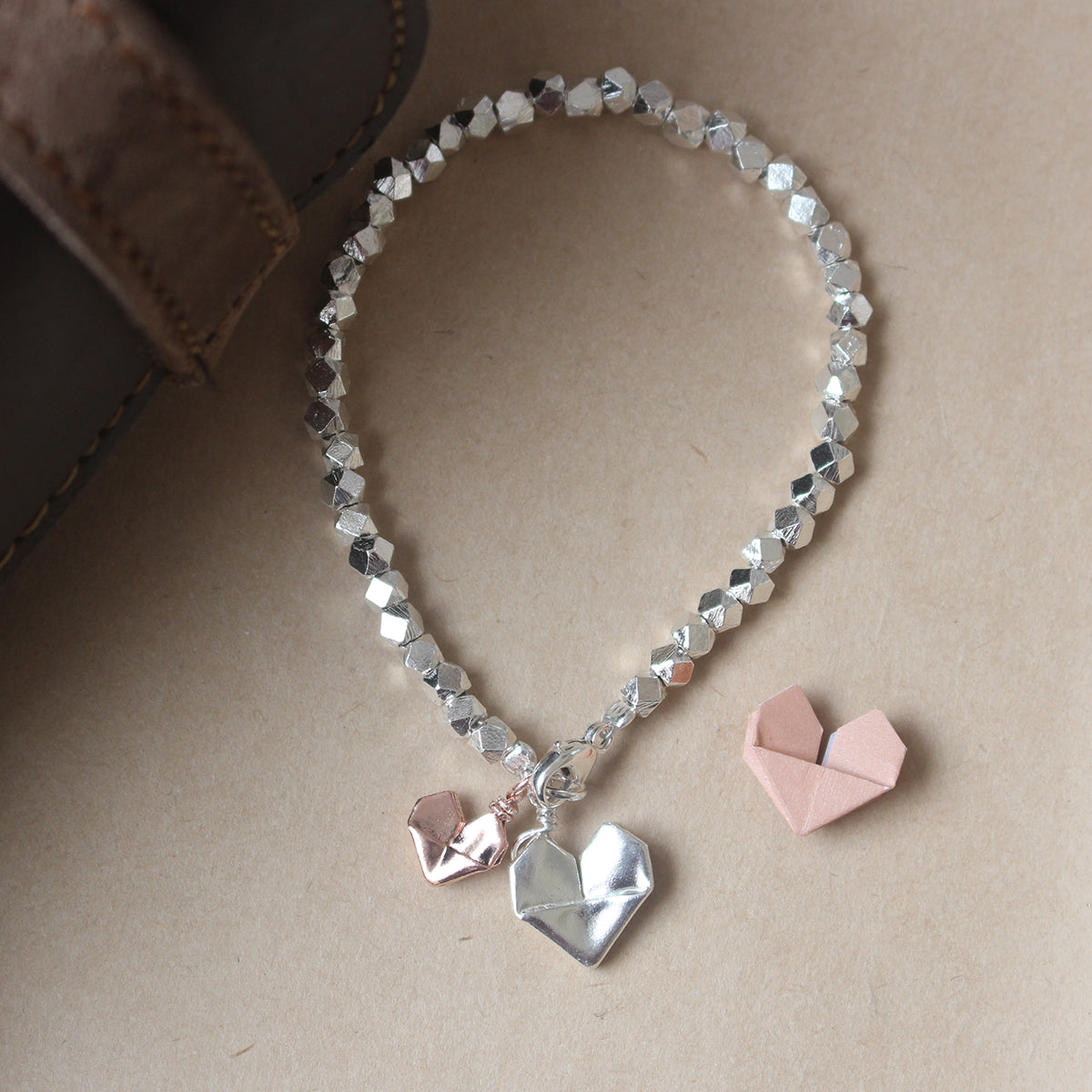 925 Silver Origami Big and Small Hearts Bracelet