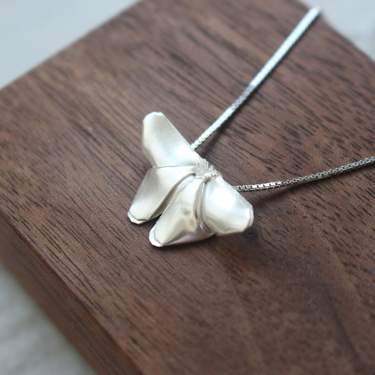 Silver Origami Butterfly Necklace