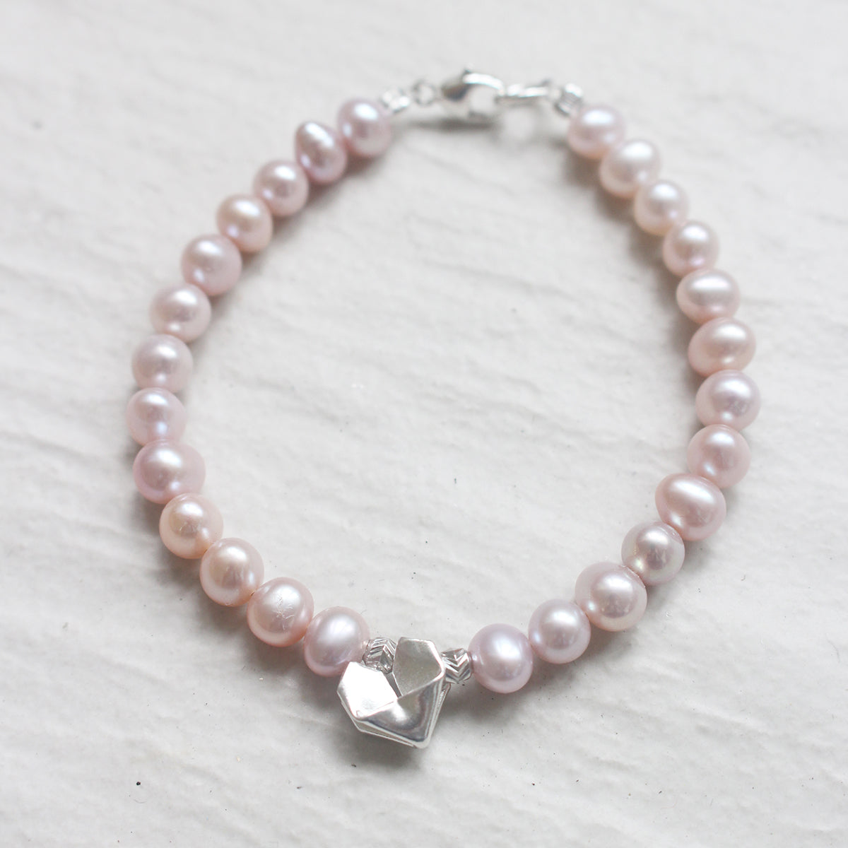 Silver Origami Heart with Pink Pearl Bracelet