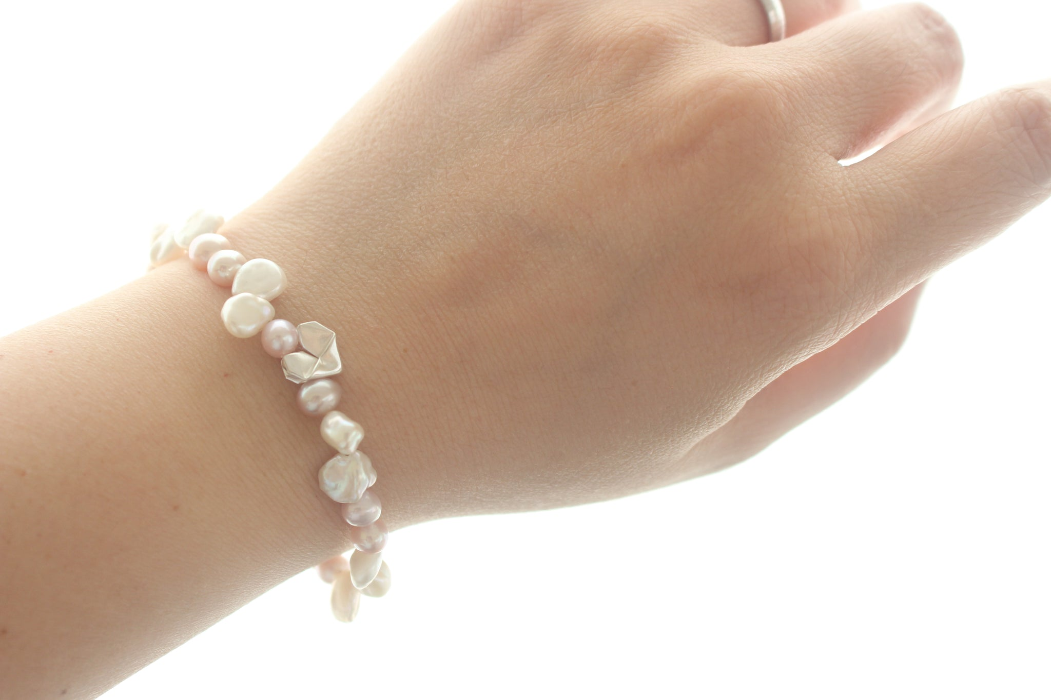 Silver Origami Heart with Pink Pearl and Keshi Pearl Bracelet