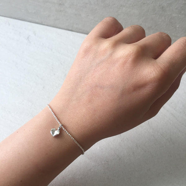 Teeny Tiny Origami Heart Bracelet in 925 silver