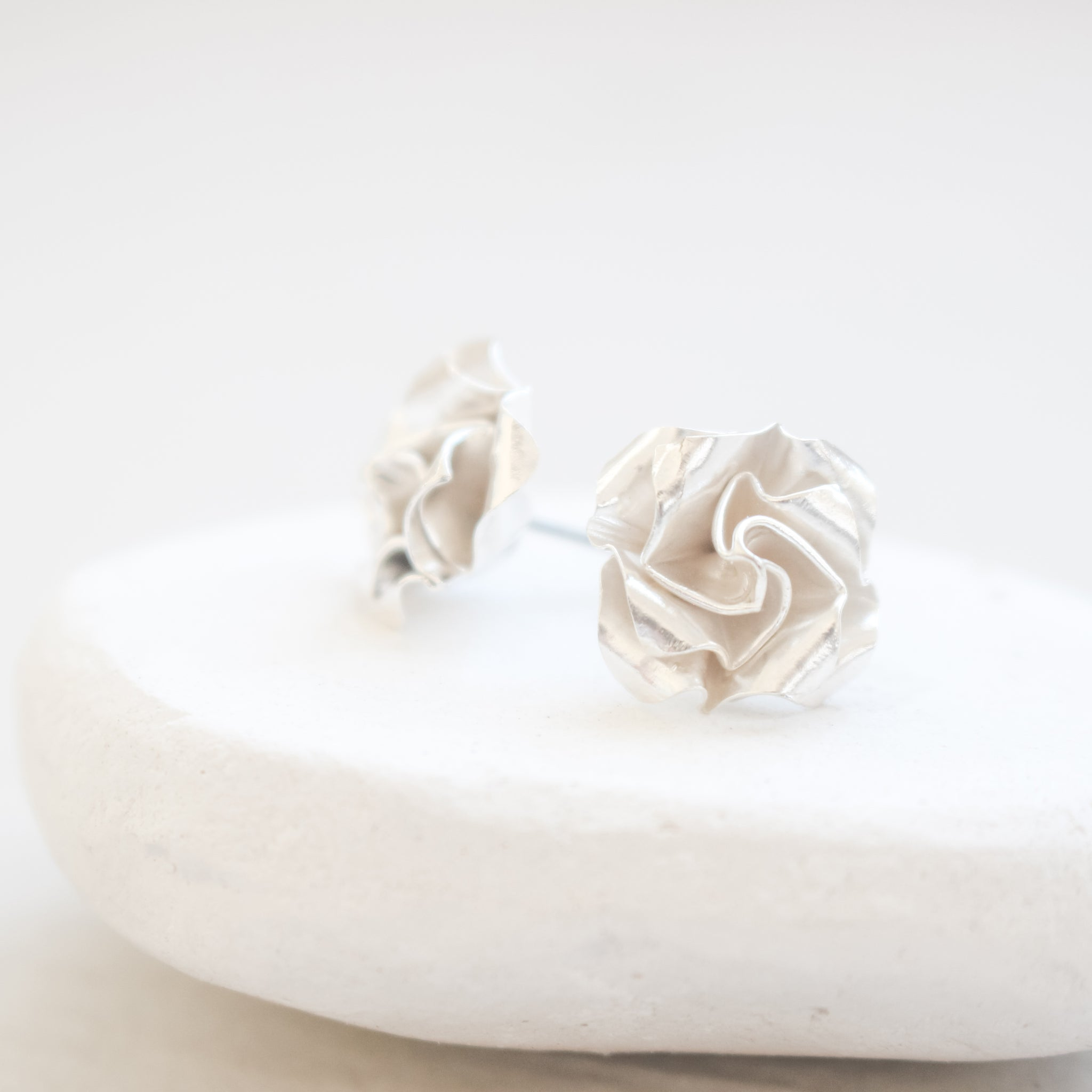Origami Rose Earrings / Paper Rose Stud / White Rose Earrings