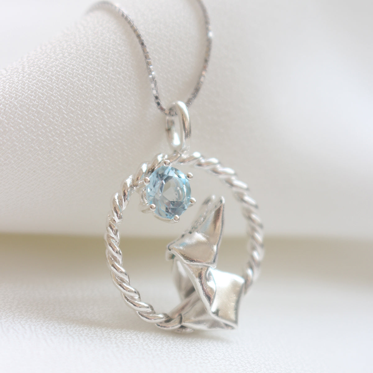 Origami Moon Rabbit with Sky Blue Topaz Necklace